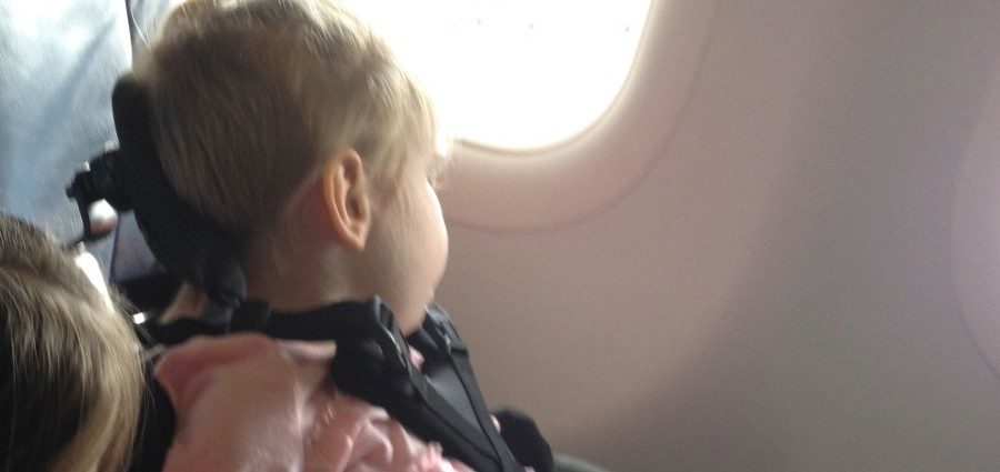Harper looking out the window of the airplane